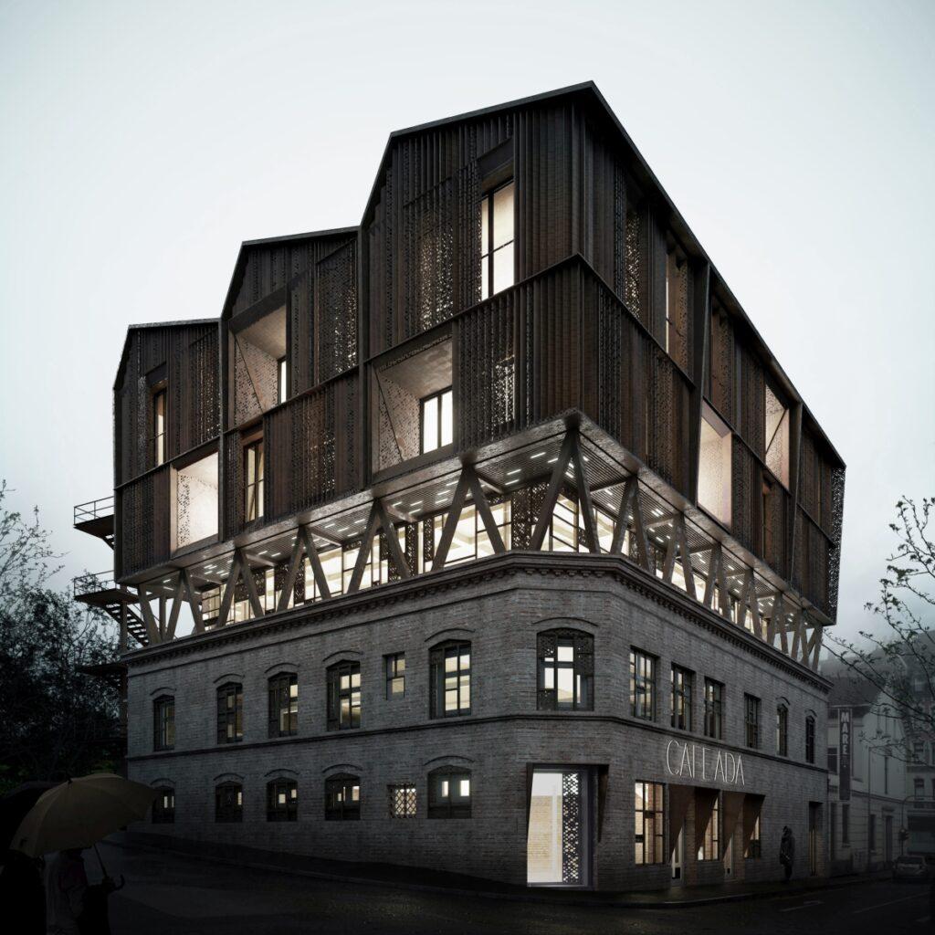 Am Computer erstelltes Modell der roofKIT-Konzepts: Die auf dem Gebäudedach aufgesetzte, nachhaltige Konstruktion schafft neuen Raum in der Stadt.